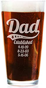 Personalized Daddy Pub Glass with Kids Birthdates 16 Oz Fathers Day Beer Mug for Grandpa, Dad, Papa, American Dad, Hero, Birthday Christmas (Personalized)