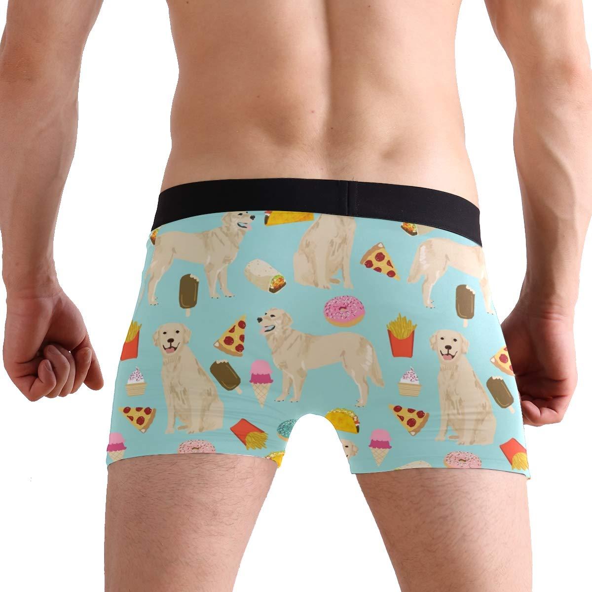 Mens Boxer Briefs Underwear with 3D Golden Retriever Dog Print S