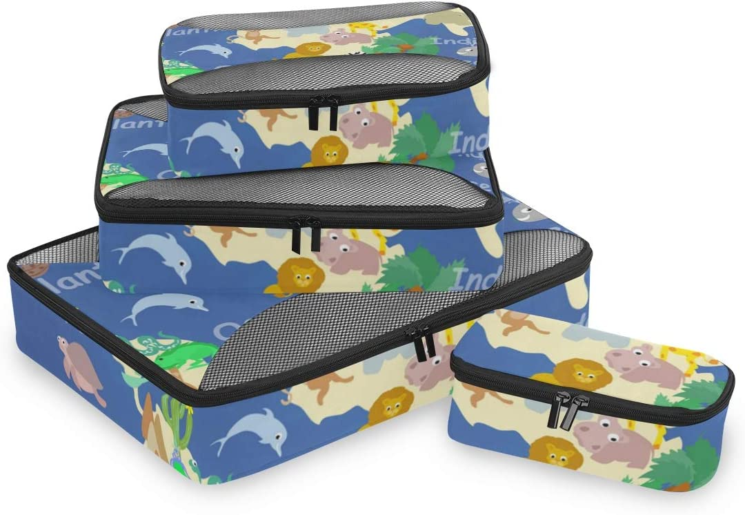 4 Set Packing Cubes Travel Luggage Packing Organizers Flat World Animals
