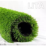 LITA 5.5ft x 6.5ft Realistic Deluxe Artificial Grass Synthetic Thick Lawn Turf Carpet Perfect for Indoor/Outdoor Landscape, 5.5'X6.5', Green