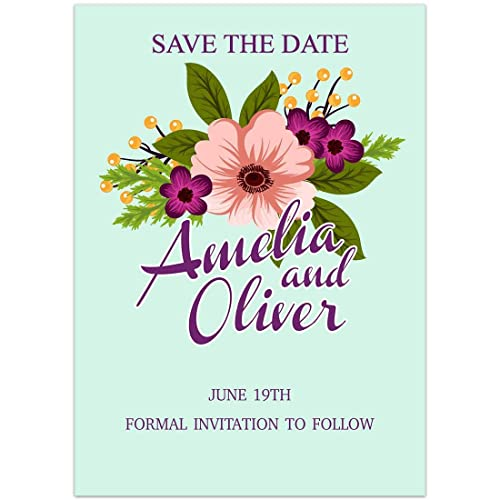 Amazon Com Teal With Flowers Save The Date Card Wedding