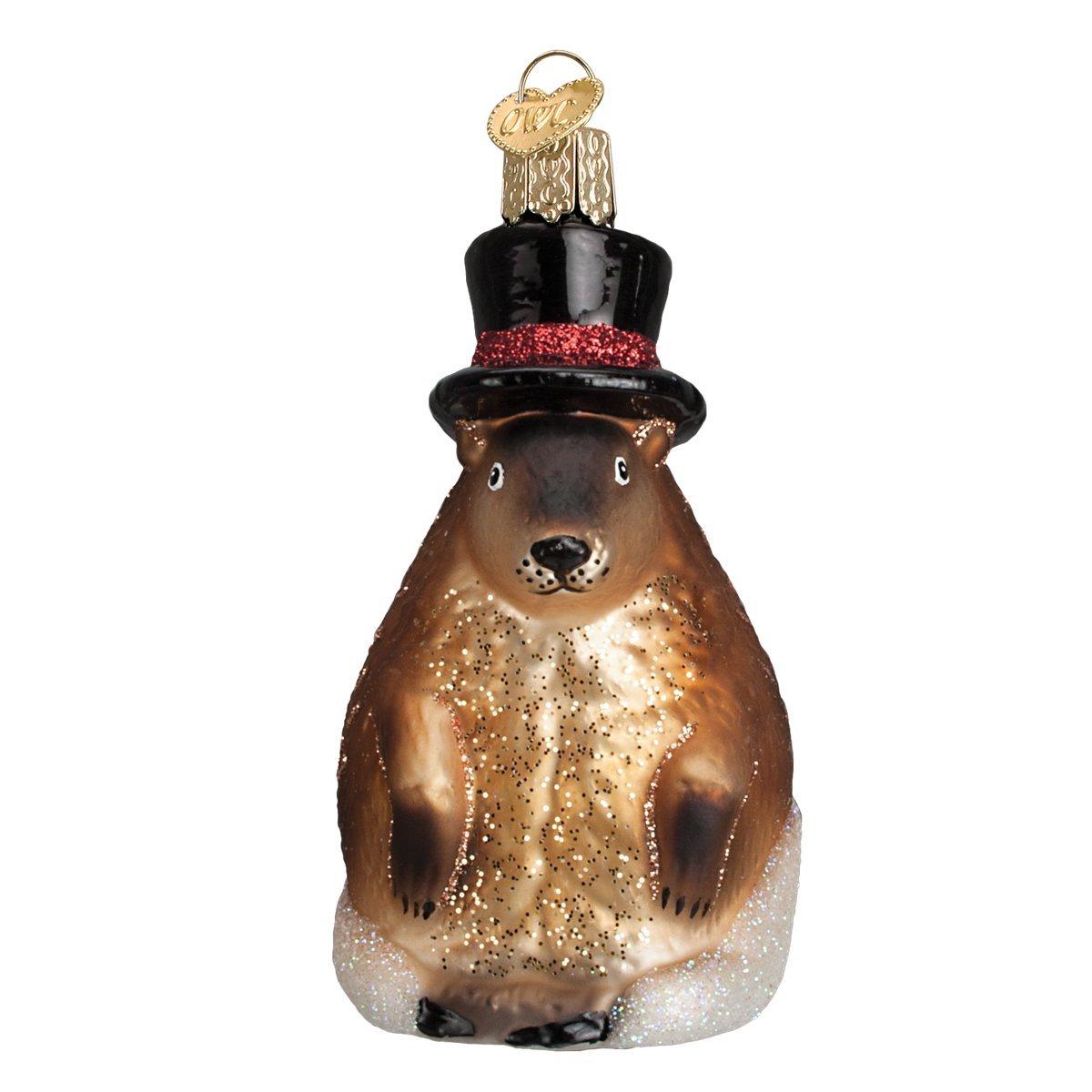 Old World Christmas Groundhog Glass Blown Ornament 12412