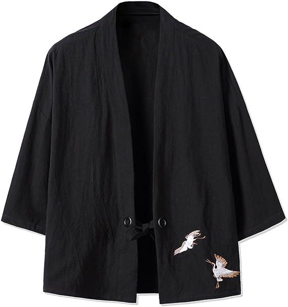 TALLA S. Mirecoo Haori - Chaqueta de kimono para hombre, cuello en V