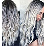 "23"" Natural Full Wigs Hair Long Wavy Wig Synthetic Heat Resistant (Ombre Silver)"
