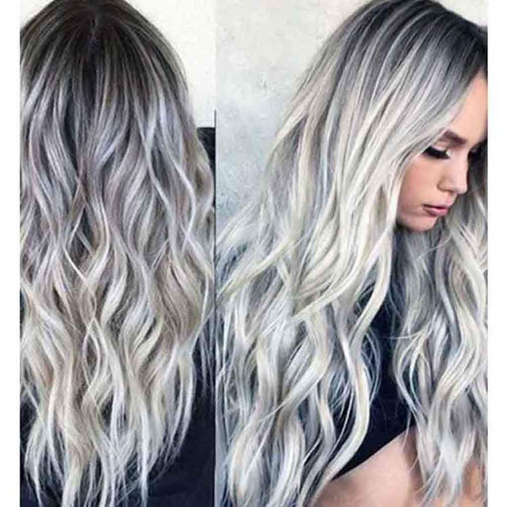23'' Natural Full Wigs Hair Long Wavy Wig Synthetic Heat Resistant (Ombre Silver) by Rswsp