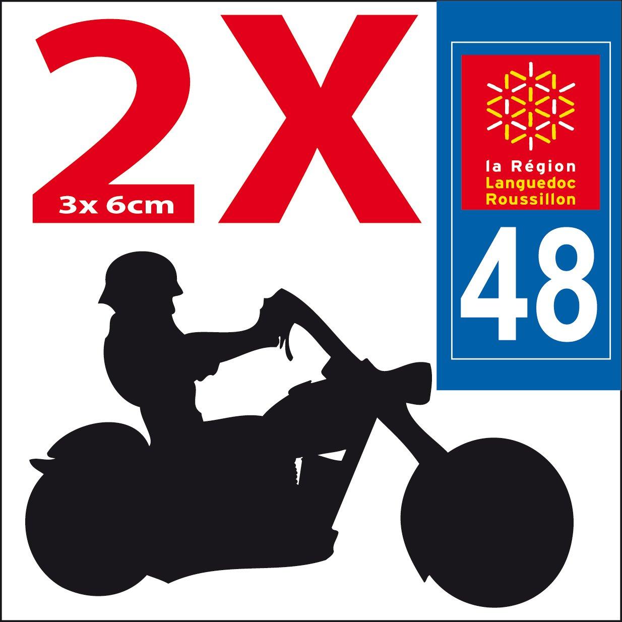 2 Stickers Autocollant style Plaque MOTO département 48