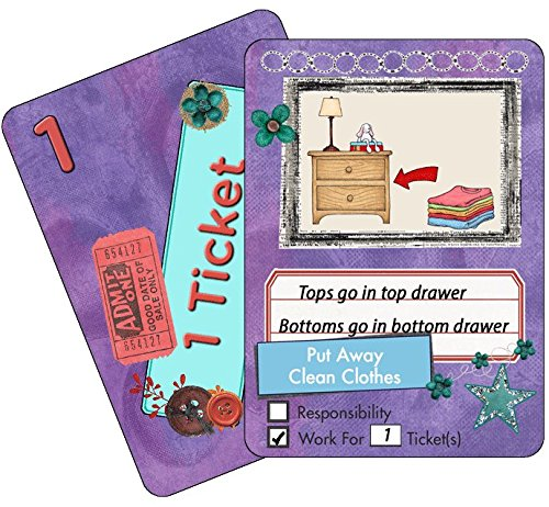 NEATLINGS Chore Cards Self-Care Deck ● 28 Self-Care Chores & 21 Ticket Cards ● Reward & Responsibility ● Purple