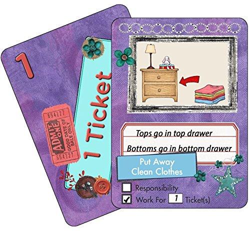 NEATLINGS Chore Cards Self-Care Deck ● 28 Self-Care Chores & 21 Ticket Cards ● Reward & Responsibility ● Purple