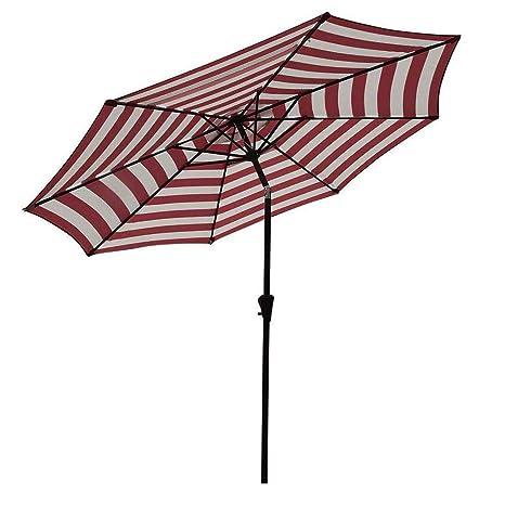 COBANA Patio Umbrella,Outdoor Table Market Striped Umbrella With Push  Button Tilt/Crank,
