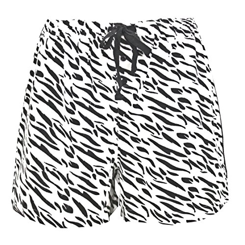 Leisureland Women's Cotton Flannel Pajama Sleepwear Lounge Boxer Shorts Zebra Print White Large (White Short Flannel Boxer)
