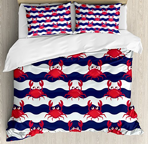 (Ambesonne Crabs Duvet Cover Set Queen Size, Nautical Maritime Theme Crabs on Striped Background Illustration Print, Decorative 3 Piece Bedding Set with 2 Pillow Shams, Red Blue)