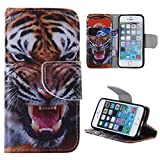 iPhone 5SE Case,iPhone 5S Cover,ahere Flip Painting Tiger PU Leather Wallet Case for Apple iPhone 5/5S/5SE(Built-in ID/Credit Card Slot)