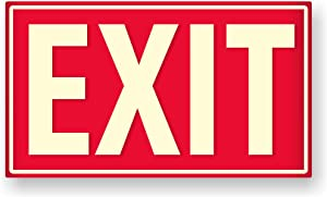 Photoluminescent Exit Sign (Red) / UV Inks on Aluminum | Heat Resistant | Cold Tolerant | Weather Proof. (Meets OSHA) Made in USA