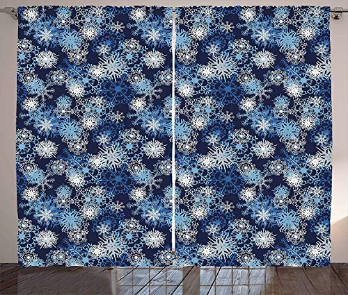 - CHARMHOME Winter Kitchen Curtains Various Different Ornate Snowflakes Blizzard Cold Season Xmas Themed 2 Panels Window Drapes for Home Pale Blue Dark Blue White 108 W x 84 L
