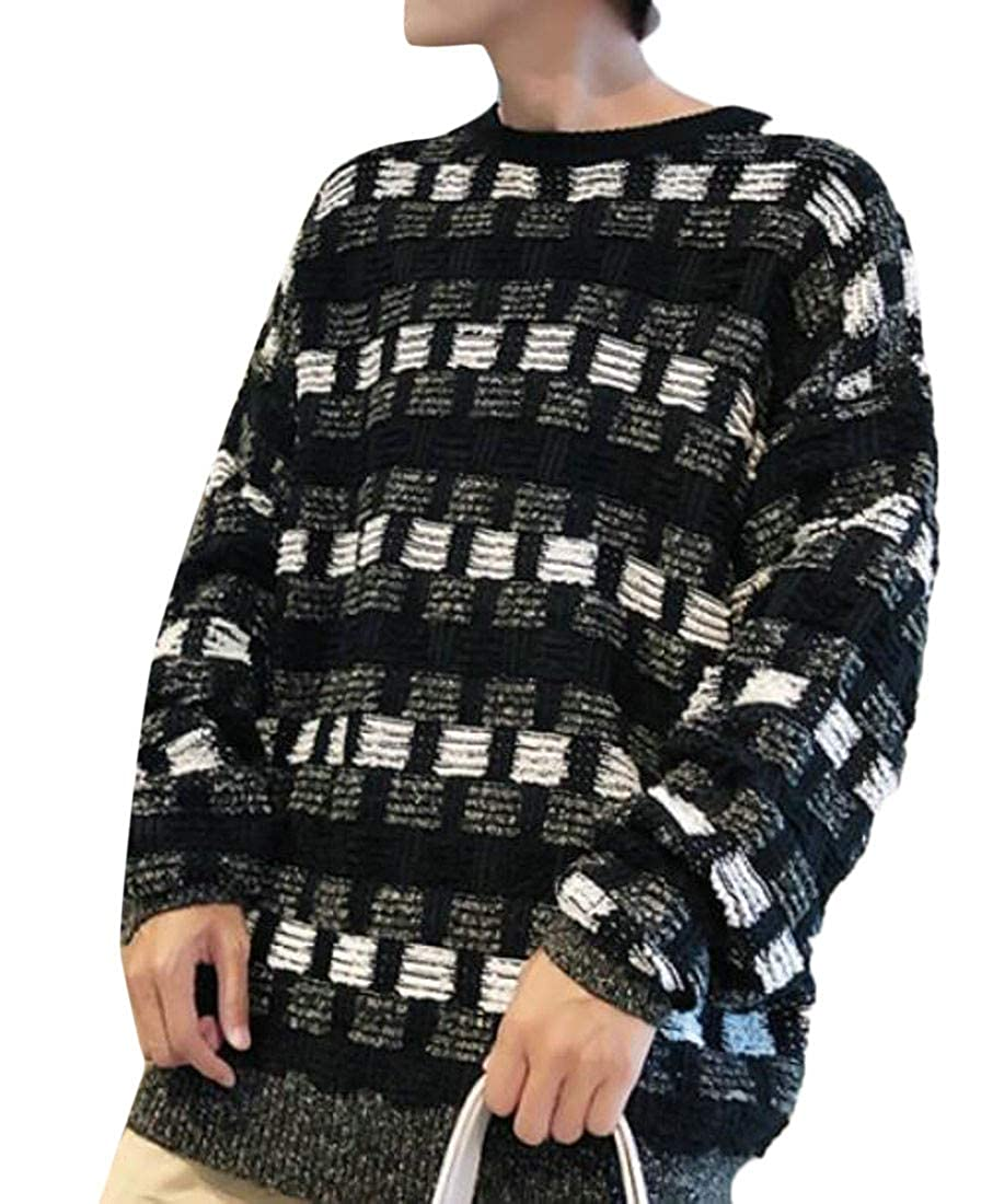 Lutratocro Mens Casual Pullover Knit Checkered Round Neck Jumper Sweaters