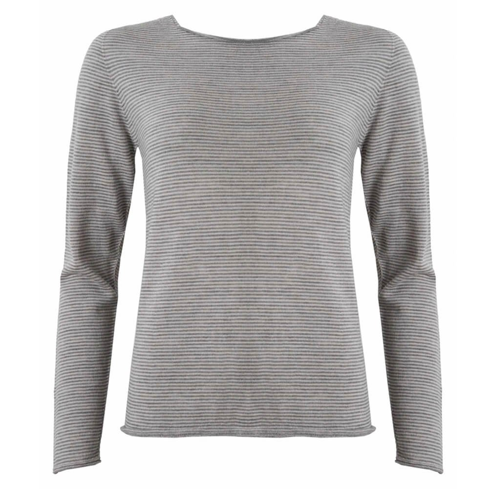 Celtic & Co Womens Fine Knit Merino Lambswool Crew Neck Knitted Sweater - swansdown/Silver - Size X-Small