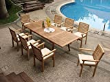 Grade-A Teak Wood Luxurious Dining Set Collections: 9 Pc – 94″ Rectangle Table and 8 Hari Stacking Arm Chairs #TSDSHR7 Review