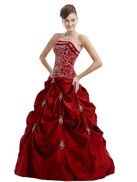 Burgundy color prom dresses