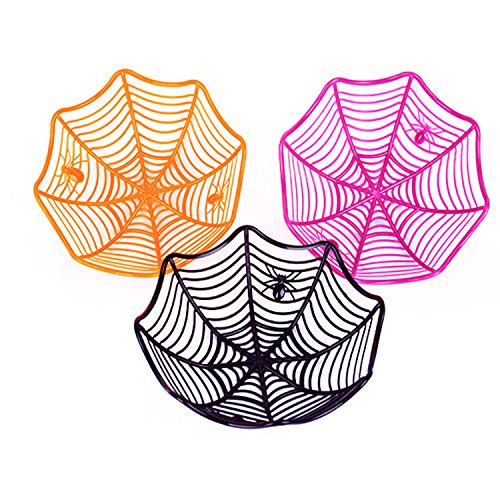 3 pcs Halloween Candy Plate Halloween Spider Web Fruit Plate