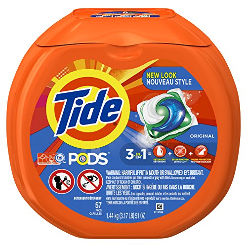 Tide PODS 3 in 1 HE Turbo Laundry Detergent Pacs, Original Scent, 57 Count Tub
