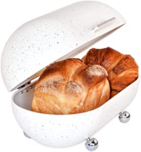 """Large White Bread Box for Kitchen Countertop - Modern Metal Bread Box in Vintage Powder Coated Bread Bin Style with Hinged Lid - Dry Food Storage Container for Loaves, Bagels and More 13"""" x 7"""" x 8"""""""