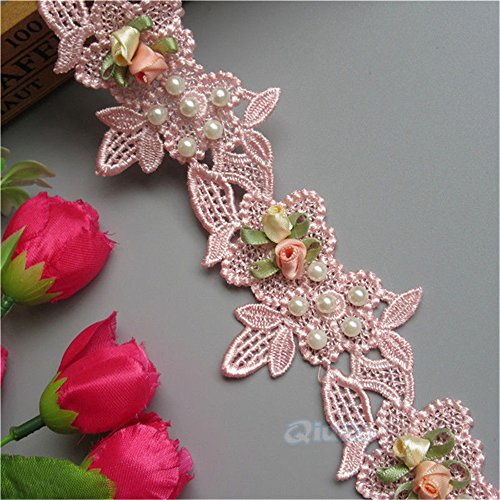 1 Meter Pearl Flower Lace Edge Trim Ribbon 6 cm Width Light Pink Trimmings Vintage Style Fabric Embroidered Applique Sewing Craft Wedding Bridal Dress Embellishment Party Decoration Clothes Embroidery
