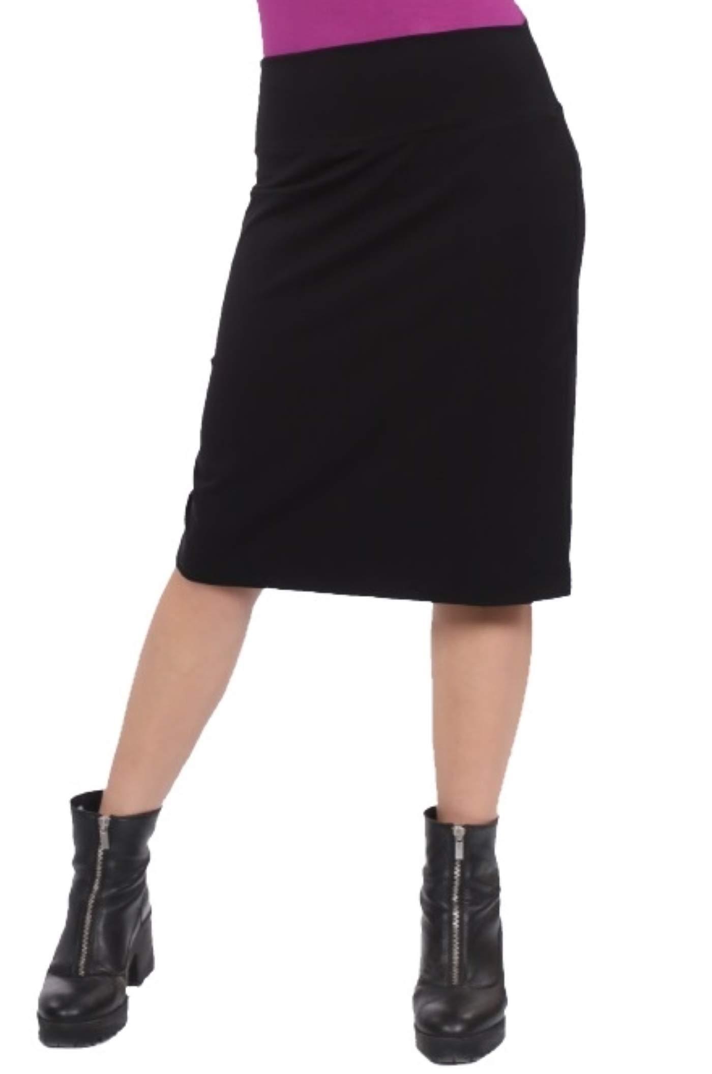 Kosher Casual Women's Modest Knee Length Stretch Pencil Skirt in Lightweight Cotton Lycra