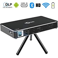 toumei c800s Mini Proyector – Android 7.1 Vídeo Cine en casa Pocket proyector DLP para iPhone Android Phone 100 ANSI lumens – Soporte HDMI Entrada/WiFi/Bluetooth/USB/TF Tarjeta/TV Box/PS4 (Negro)