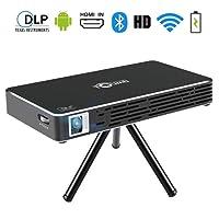 Toumei C800S Mini Projecteur - Android 7,1 Portable Videoprojecteur WiFi DLP Pico Projecteur 100 ANSI Lumens - 1080P Full Hd WiFi Bluetooth Entree Hdmi Pour  Gaming/Laptop/PS4 (Noir)
