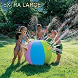 POKONBOY Super Beach Ball Sprinkler Diameter 30 Inches Large Outdoor Colorful Water Spray Ball Outdoor Swimming Pool Beach Use