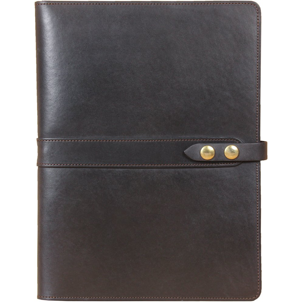 Black Leather Business Portfolio Case for Tablets iPad Folio USA Made Full-Grain No. 18