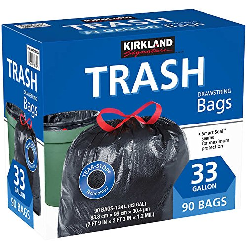 Kirkland Signature Tear-Stop Heavy Duty 33-Gallon Drawstring Trash Bags: 90-Count by FCV (Image #1)