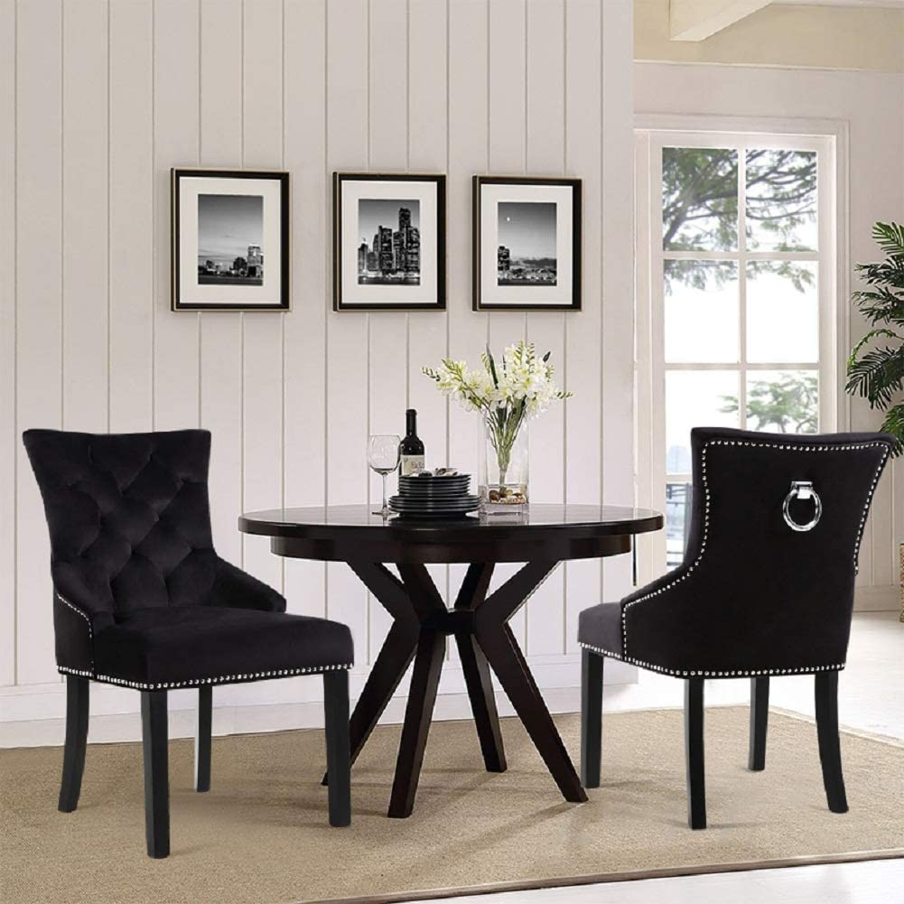 Crushed Velvet-Black Purple Warmiehomy Set of 2 Crushed Velvet Dining Chairs Buttoned Studded Kitchen Chairs with Back Ring Knocker Chrome /& Walnut Wood Chair Legs Kitchen Dining Room Furniture