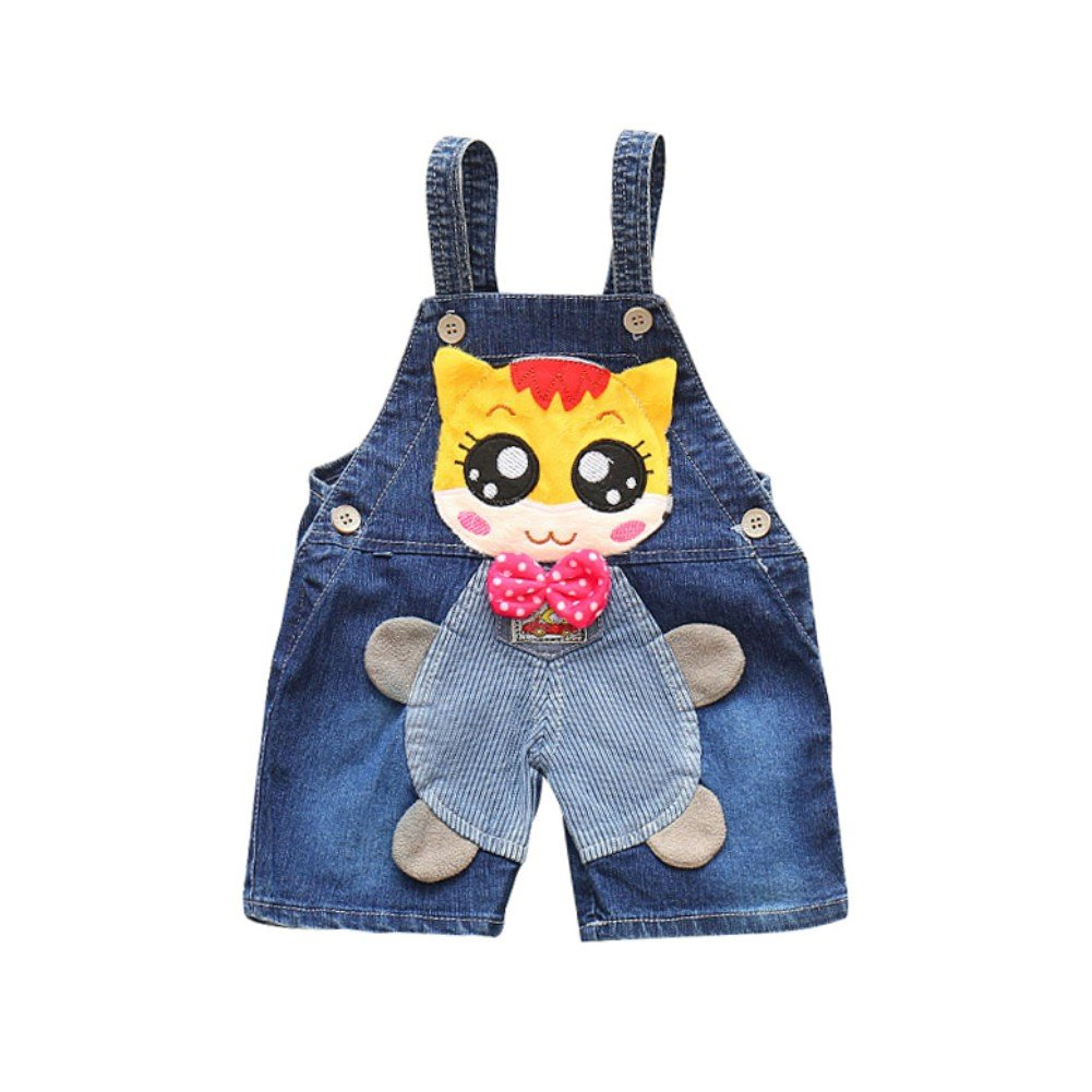 Minuya Baby Jeans, Toddler Baby Girls Boys Dungarees Cartoon Denim Pants Overalls Jumpsuit for 0-3 Years Old