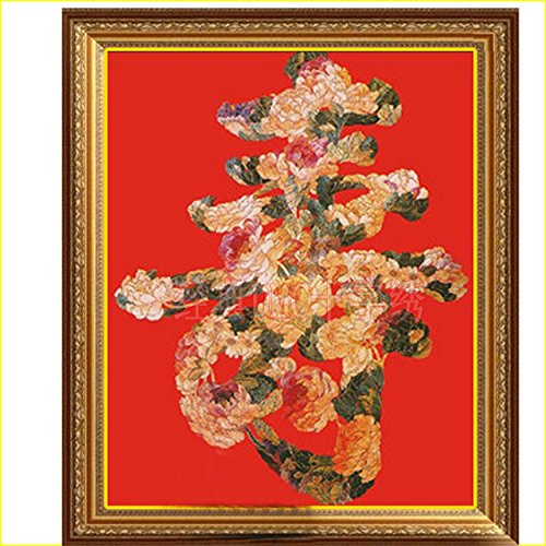 DMC糸 クロスステッチ刺繍キット 布地に図柄印刷 3D 牡丹花寿 B00ZZ4YR8M