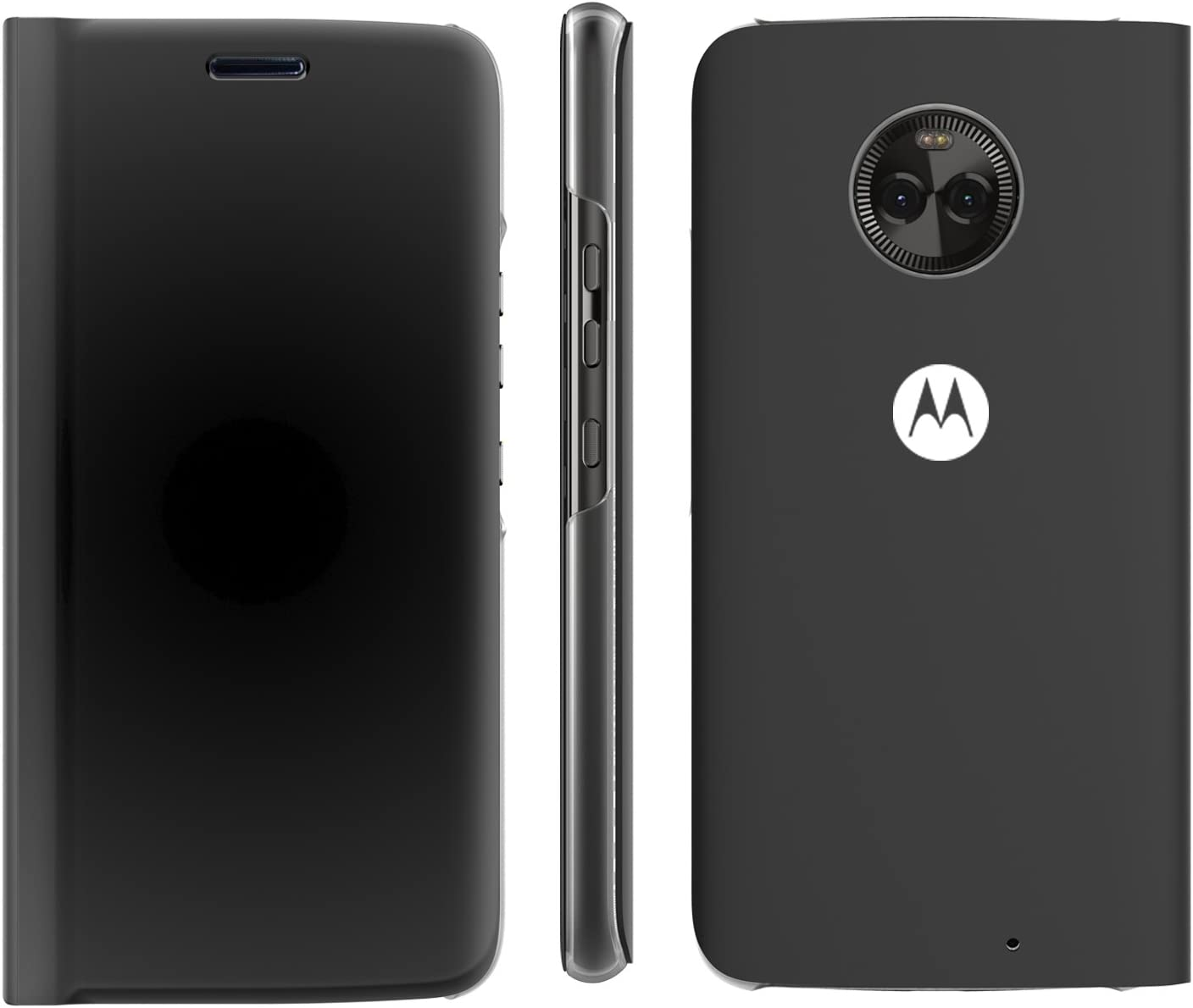 Lenovo Moto X4 Flip Case, Touch Flip Cover Transparent Shell Shock Resistant and Edge Protective Folio Flip Case for Motorola Moto X4 (Black)