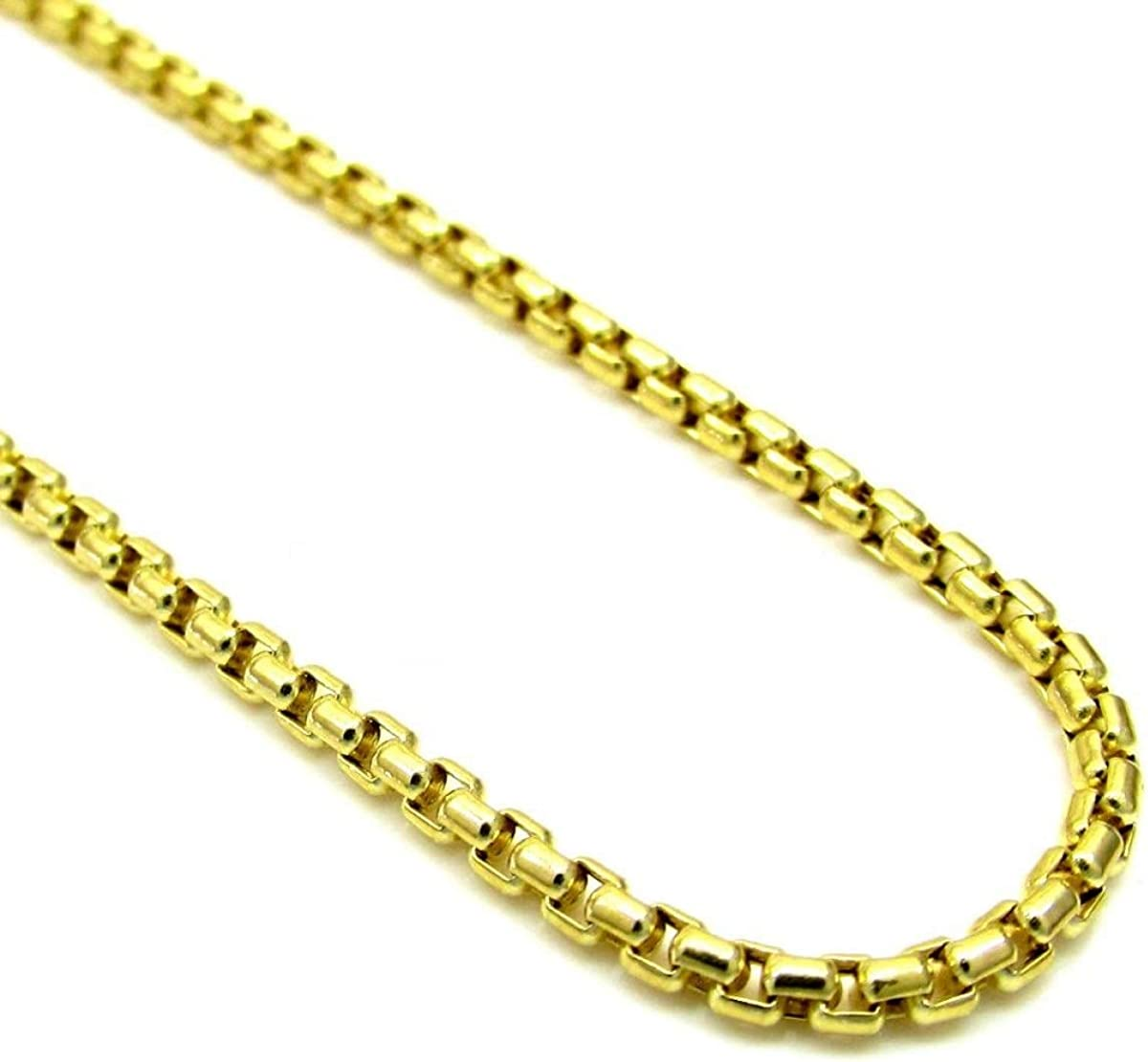 Solid 925 Necklace Chain Sterling Silver Italian 3.5mm Round Box Link 18K Yellow Gold Plated Heavy-Weight 24-36/""