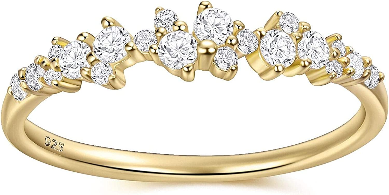 925 Sterling Silver Rings for Women 14K Gold Wedding Rings Stackable Rings Engagement Eternity Band 5A Cubic Zirconia Round Thumb Size 5/6/7/8/9 by KOOLFIN