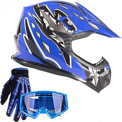 Small Typhoon Youth Kids Offroad Gear Combo Helmet Gloves Goggles DOT Motocross ATV Dirt Bike MX Motorcycle Blue