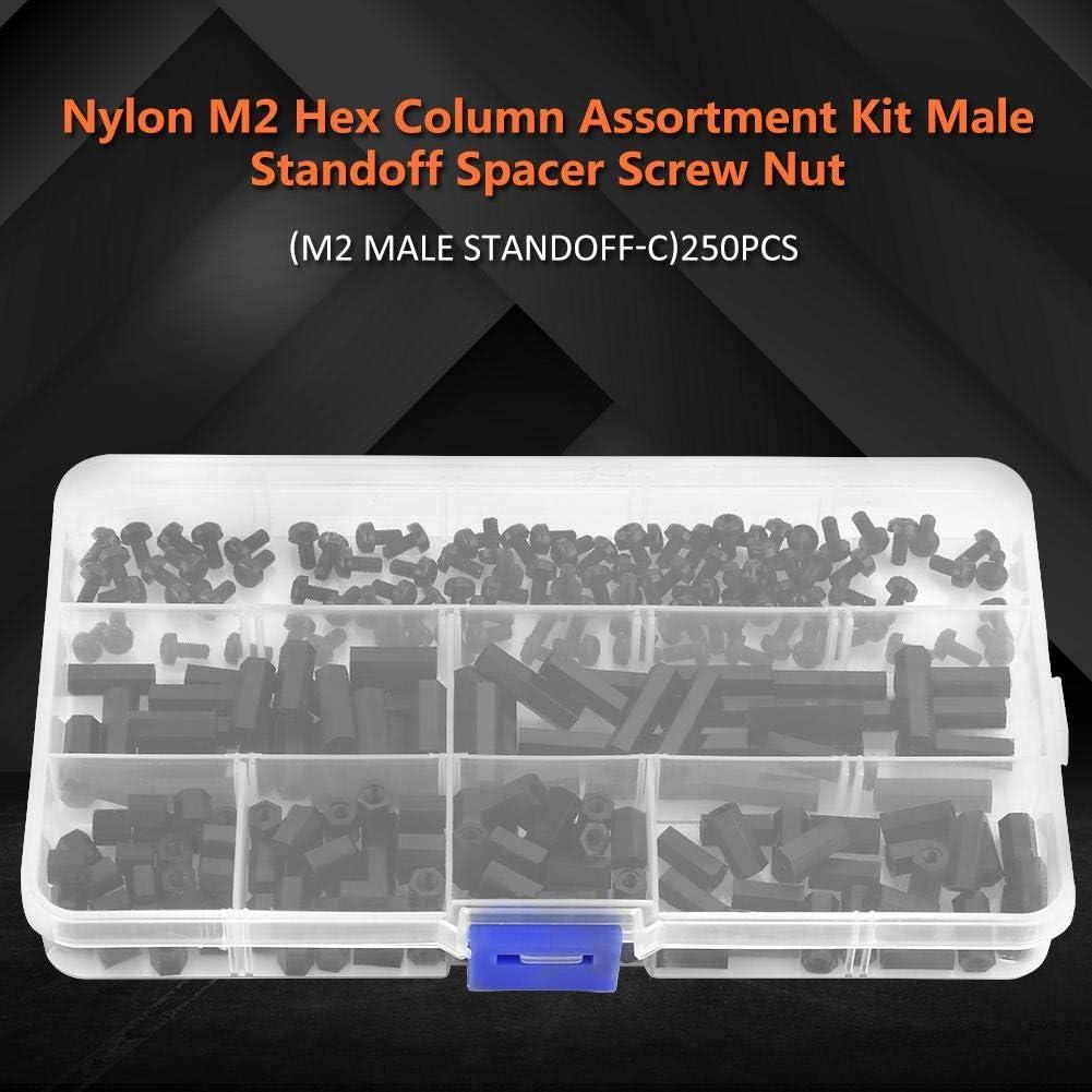 Standoff Set M2 #3 M3 Male//Female Maleficio Column Standoff Spacer Tornillo Kit de Surtido de Tuercas para Placas de PCB con Estuche de Almacenamiento 250pcs Set