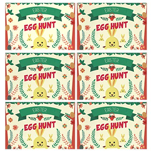 (TaTaisu Easter Day Egg Hunt Bunny Rabbit Place Mat Set of 6 Placemats Heat Insulation Kids Adult Kitchen Dining Table Decoration Rectangle)