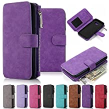 Galaxy Note 5 Case, Note 5 Case iNNEXT Note 5 Wallet Case Premium PU Leather Folio Book Style Multiple Card Slots Cash Pocket with Magnetic Closure Case Cover for Samsung Galaxy Note 5 (Purple)