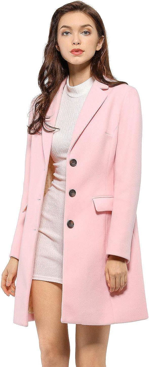 Allegra K Women's Notched Lapel Single Breasted Outwear Winter Coat