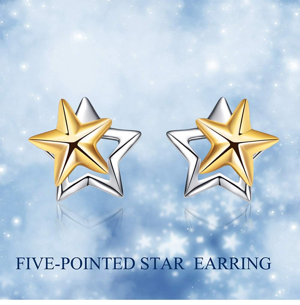 Simple Stars Studs Earrings for Girls Gift ALXDR 925 Sterling Silver Earrings Plated 18k Gold