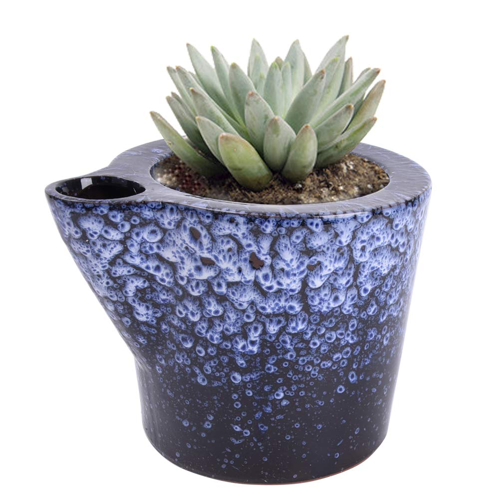 Vencer Self Watering Planter Red Pottery Clay Ceramic Flower Pots,Office Desktop Potted Stand,Home & Office Decor Accent,Ideal for Small Succulent Planting a Flower Pot,Blue Crystal,VF-098