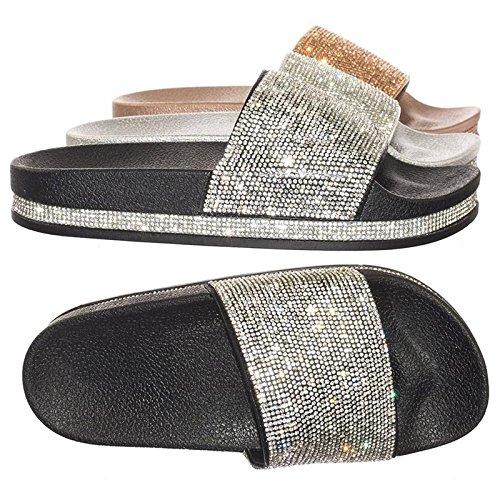 Forever Link Rhinestone & Glitter Slide Slippers Black Rhinestone, 8