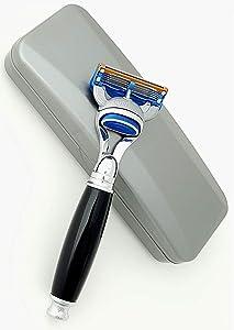 Fusion Manual Men's Shaving Razor Faux Resin Handle with Travel Case