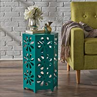 Girra Indoor 14 Inch Matte Teal Iron Floral Side Table