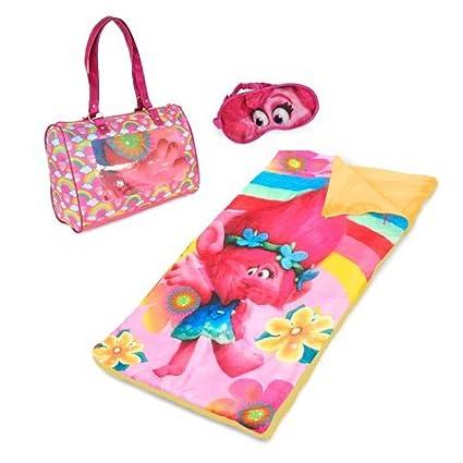 save off bc2f0 13b6b Amazon.com: Trolls Girls Sleeping Bag and Eye Mask Sleepover ...