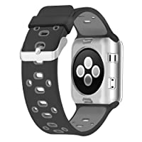 Apple Watch Breathable Band, UMTELE Silicone Replacement Wristband Sport Strap with TPU Protective Case for Apple Watch Series 3/2/1, Nike+